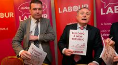 Struggle: Alan Kelly (left) and Brendan Howlin. Photo: Gareth Chaney Collins