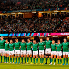 18 October 2015; The Ireland team stand for the national anthem ahead of the game against Argentina at the Millennium Stadium in the 2015 Rugby World Cup Quarter-Final. Photo: Brendan Moran/Sportsfile