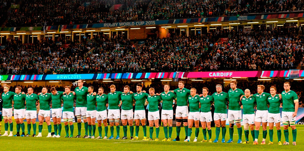 4530f0bb54 18 October 2015  The Ireland team stand for the national anthem ahead of  the game