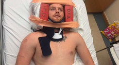 Paul Brazil (38), from Dublin 7, has been lying in a hospital bed in St James' Hospital all week in a neck brace