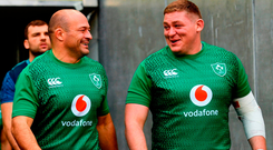 Ireland captain Rory Best shares a joke with Tadhg Furlong during yesterday's Captain's Run at the Aviva Stadium. Photo: Ramsey Cardy/Sportsfile