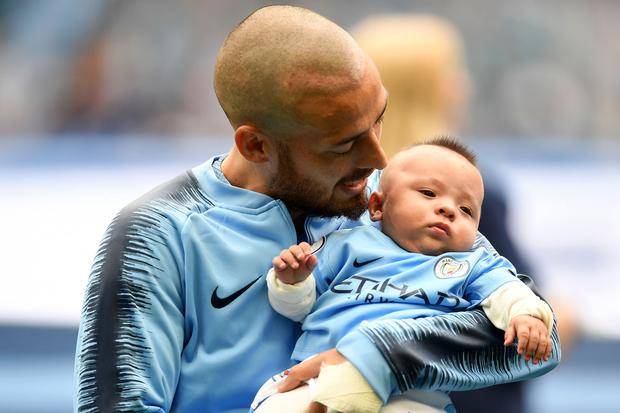 David Silva with son Mateo. Photo: Getty Images