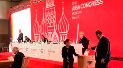 Delegates in Moscow casting their vote in the election for the AIBA president