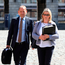 Vindicated: Sergeant Maurice McCabe with his wife Lorraine at the Disclosures Tribunal in Dublin Castle last year. Photo: Collins