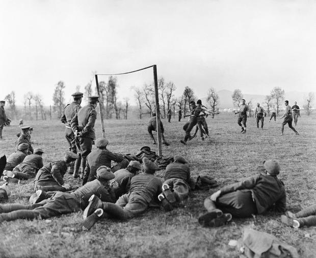 Sport was of the few recreations that soliders had during World War One – here a game between Officers and Other Ranks in Salonika on Christmas Day 1915. Photo: Getty