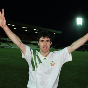 Alan McLoughlin celebrates in Windsor Park after the final whistle. Photo: Bob Thomas