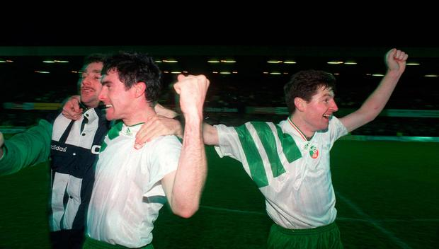 McLoughlin, John Aldridge and Denis Irwin after learning of Ireland's qualification. Photo: Sportsfile
