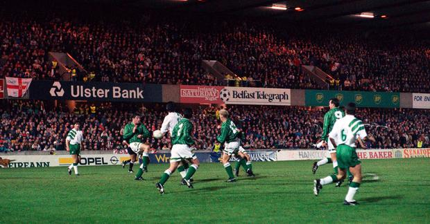 McLoughlin (not visable) scores his left-footed equaliser. Photo: Sportsfile