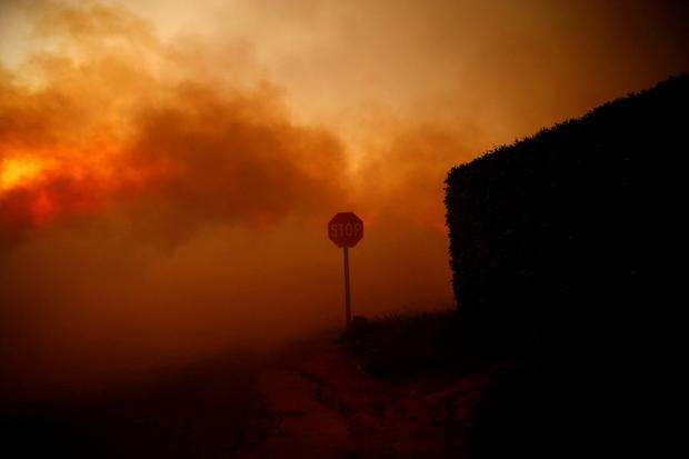 The Woolsey Fire burns in Malibu, California, U.S. November 9, 2018. REUTERS/Eric Thayer