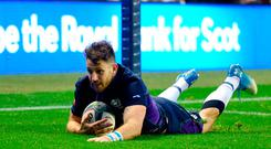 Tommy Seymour of Scotland scores his third try during the Autumn International match at BT Murrayfield Stadium, Edinburgh. Saturday November 10, 2018. Ian Rutherford/PA Wire.