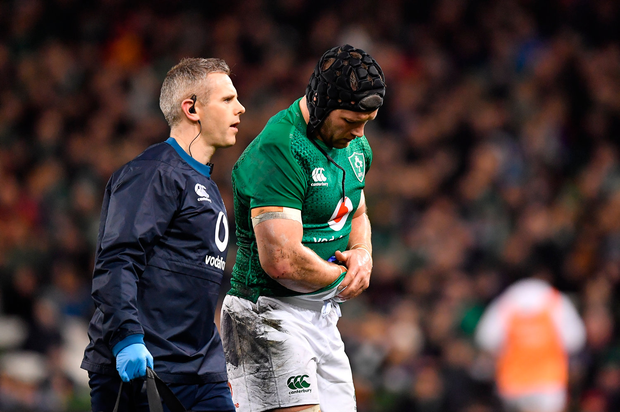 10 November 2018; Sean OBrien of Ireland leaves the pitch with an injury with team doctor Ciaran Cosgrave during the Guinness Series International match between Ireland and Argentina at the Aviva Stadium in Dublin. Photo by Brendan Moran/Sportsfile
