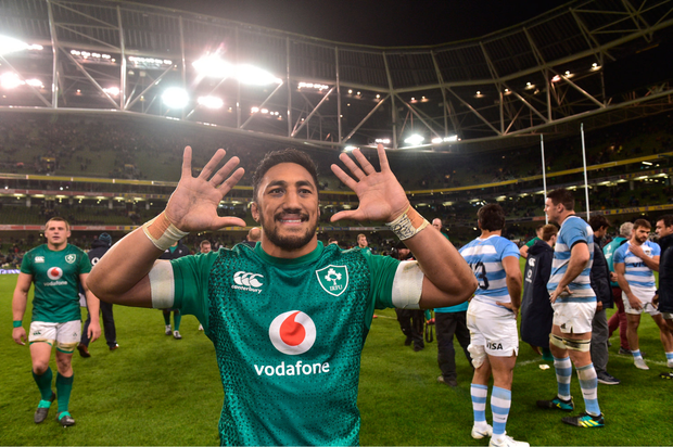 10 November 2018; Bundee Aki of Ireland following the Guinness Series International match between Ireland and Argentina at the Aviva Stadium in Dublin. Photo by Matt Browne/Sportsfile