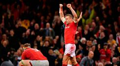 CARDIFF, WALES - NOVEMBER 10: Hadleigh Parkes of Wales celebrates on the final whistle during the International Friendly match between Wales and Australia at Principality Stadium on November 10, 2018 in Cardiff, United Kingdom. (Photo by Dan Mullan/Getty Images)
