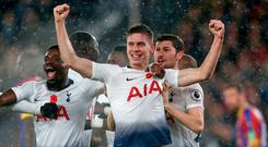Tottenham Hotspur's Argentinian defender Juan Foyth (C) celebrates with teammates after scoring the opening goal of the English Premier League football match between Crystal Palace and Tottenham Hotspur at Selhurst Park in south London on November 10, 2018. Photo: Getty Images