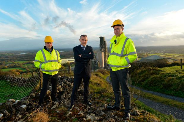 UNDER ATTACK: From left, Kevin Lunney, chief operations officer, Liam McCaffrey, chief executive officer, and Dara O'Reilly, chief finance officer of Quinn Industrial Holdings in Derrylin, Co Fermanagh. Photo: Oliver McVeigh