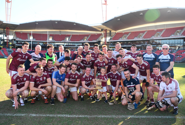 11 November 2018; Galway players and officials celebrate after the Wild Geese Cup match between Galway and Kilkenny at Spotless Stadium in Sydney, Australia. Photo by Ray McManus/Sportsfile