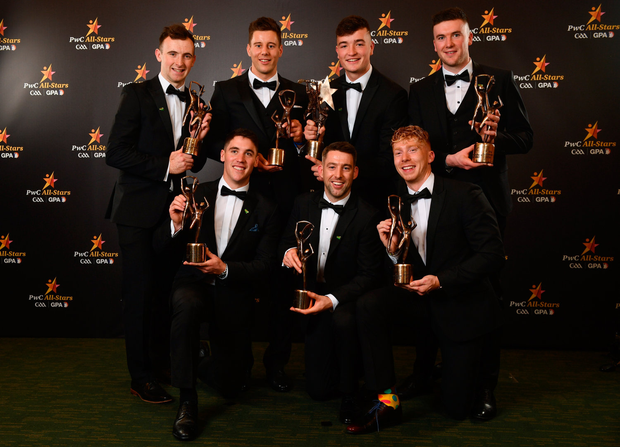 2 November 2018; Limerick hurlers, back row, from left, Richie English, Dan Morrissey, Kyle Hayes, Declan Hannon, front row, from left, Seán Finn, Graeme Mulcahy, and Cian Lynch with their All-Star awards at the PwC All Stars 2018 at the Convention Centre in Dublin. Photo by Sam Barnes/Sportsfile