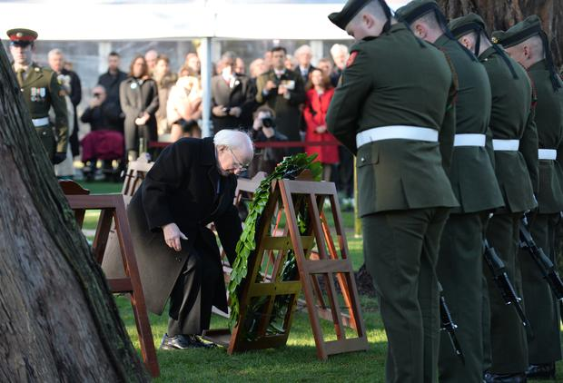 President Michael D. Higgins places a wreath on behalf of the people of Ireland at Armistice Day Commemoration Picture: Caroline Quinn