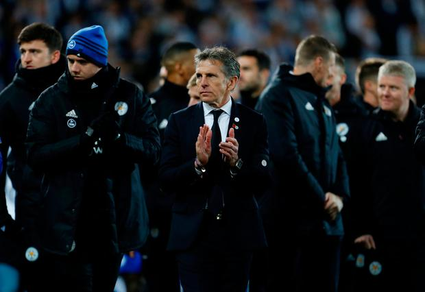 Soccer Football - Premier League - Leicester City v Burnley - King Power Stadium, Leicester, Britain - November 10, 2018 Leicester City manager Claude Puel applauds during tributes to Leicester City's late Chairman Vichai Srivaddhanaprabha after the match Action Images via Reuters/Craig Brough