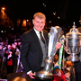 5 November 2018; Dundalk manager Stephen Kenny holds the SSE Airtricity League trophy, left, and Brian Gartland of Dundalk holds the Irish Daily Daily Cup during the Dundalk team's Homecoming at Market Square in Dundalk, Co. Louth. Photo by Ben McShane/Sportsfile