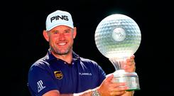 SUN CITY, SOUTH AFRICA - NOVEMBER 11: Lee Westwood of England poses with the trophy after winning the Nedbank Golf Challenge at Gary Player CC on November 11, 2018 in Sun City, South Africa. (Photo by Warren Little/Getty Images)