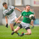 11 November 2018; James Murray of Moorefield in action against David Seale of Portlaoise during the AIB Leinster GAA Football Senior Club Championship quarter-final match between Moorefield and Portlaoise at St Conleth's Park in Newbridge, Co. Kildare. Photo by David Fitzgerald/Sportsfile
