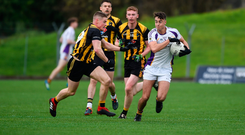 11 November 2018; Conor Casey of Kilmacud Crokes in action against Niall Jones of St Peter's Dunboyne during the AIB Leinster GAA Football Senior Club Championship Round 1 match between St Peter's Dunboyne and Kilmacud Crokes at Páirc Tailteann in Navan, Co. Meath. Photo by Daire Brennan/Sportsfile