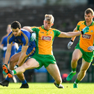 11 November 2018; Ciaran Lennon of Clann na nGael in action against Kieran Fitzgerald of Corofin during the AIB Connacht GAA Football Senior Club Championship semi-final match between Clann na nGael and Corofin at Dr. Hyde Park in Roscommon. Photo by Ramsey Cardy/Sportsfile