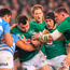 Cian Healy of Ireland is tackled by Santiago Medrano of Argentina
