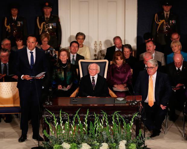 Taoiseach Leo Varadkar speaking at a ceremony at Dublin Castle in which Michael D Higgins (centre) will be inaugurated as president for a second term Photo : Maxwells/PA Wire
