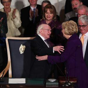 President Michael D. Higgins and Sabina Higgins after the Presidential Inauguration ceremony at Dublin Castle today Photo: Maxwells