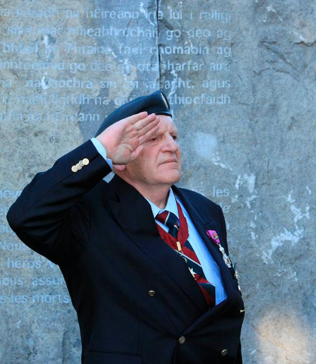 A military salute at Glasnevin Cemetery as five Victoria Cross plaques are unveiled. Photo: Garrett White, Collins Photo Agency