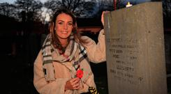 Niamh McCallion, whose grandfather Sgt Patrick Fitzgerald served in India, at Grangegorman military cemetery. Photo: Garrett White/Collins Photo Agency