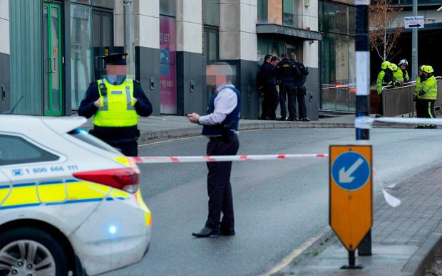 Gardaí at the scene in Drogheda, where the device was found.