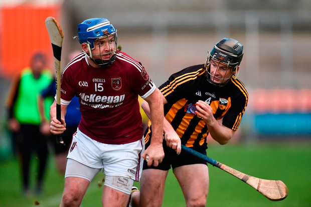 Paddy McGill of Cushendall Ruairi Óg in action against Sean Ennis of Ballycran. Photo by Oliver McVeigh/Sportsfile