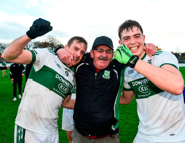 Portlaoise kitman Brendan 'Sunny' Keogh celebrates with Kieran Lillis (left) and Frank Flanagan following their victory over Moorefield. Photo by David Fitzgerald/Sportsfile