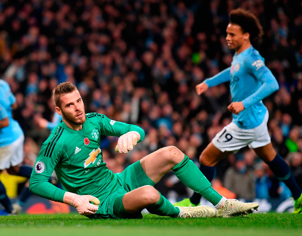 David De Gea of Manchester United reacts to conceding Manchester City's third goal. Photo: Laurence Griffiths/Getty Images