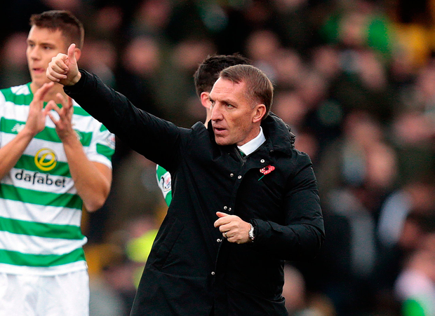 'Despite having to settle for a draw, Rodgers was pleased to go into the international break top of the table.' Photo: Graham Stuart/PA Wire