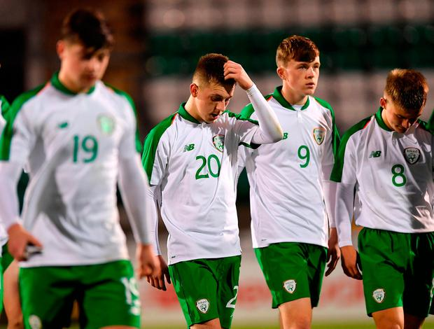 Ireland players were left disappointed after the match. Photo: Seb Daly/Sportsfile