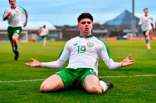 Sean Kennedy of Republic of Ireland celebrates after scoring his side's second goal. Photo: Seb Daly/Sportsfile