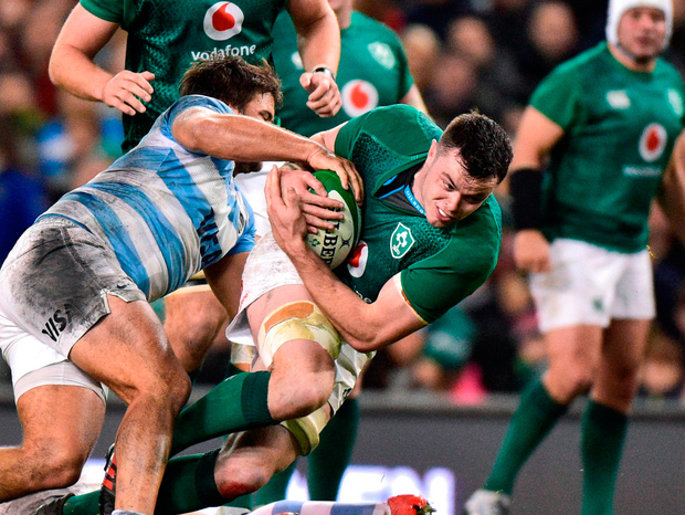 James Ryan is tackled by Santiago Medrano of Argentina. Photo: Matt Browne/Sportsfile