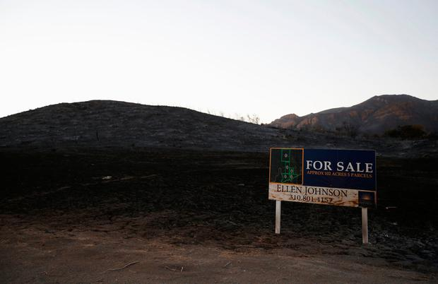 A view of land for sale in the aftermath of the Woolsey fire in Malibu, Southern California, U.S. November 11, 2018. REUTERS/Mario Anzuoni