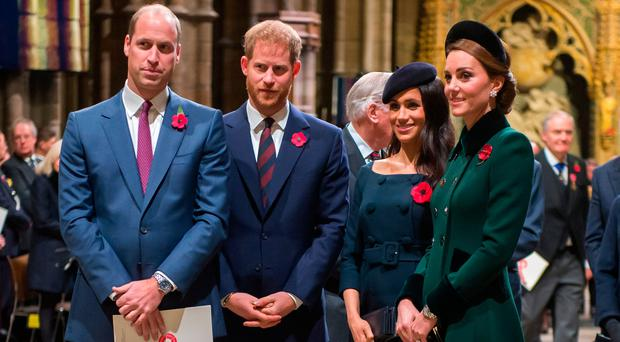 Prince William, Duke of Cambridge and Catherine, Duchess of Cambridge, Prince Harry, Duke of Sussex and Meghan, Duchess of Sussex attend a service marking the centenary of WW1 armistice at Westminster Abbey on November 11, 2018 in London, England