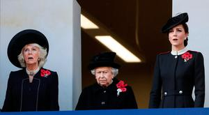 Britain's Queen Elizabeth, Camilla, Duchess of Cornwall and Catherine, Duchess of Cambridge , watch a National Service of Remembrance at The Cenotaph in Westminster, London, Britain, November 11, 2018. REUTERS/Simon Dawson