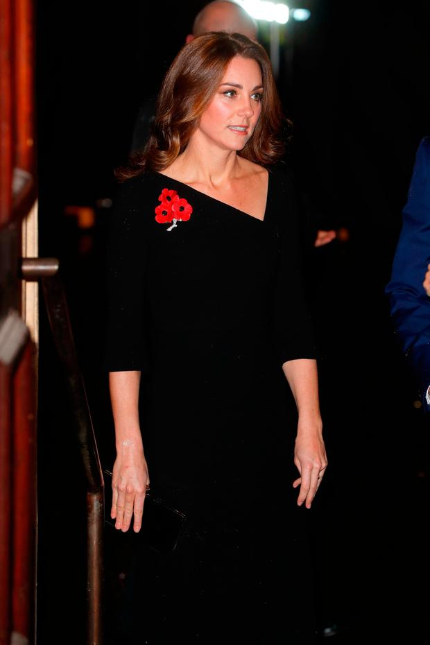 The Duchess of Cambridge arrives for the annual Royal British Legion Festival of Remembrance at the Royal Albert Hall in London, which commemorates and honours all those who have lost their lives in conflicts
