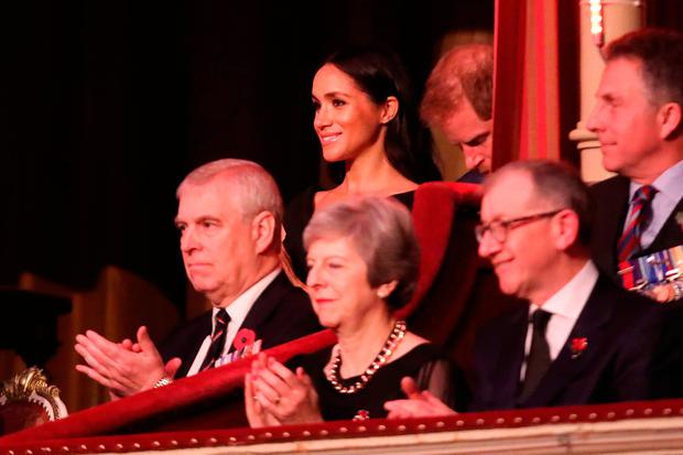 The Duke of York, the Duke and Duchess of Sussex, Prime Minister Theresa May and her husband Philip May, during the annual Royal British Legion Festival of Remembrance at the Royal Albert Hall in London, which commemorates and honours all those who have lost their lives in conflicts