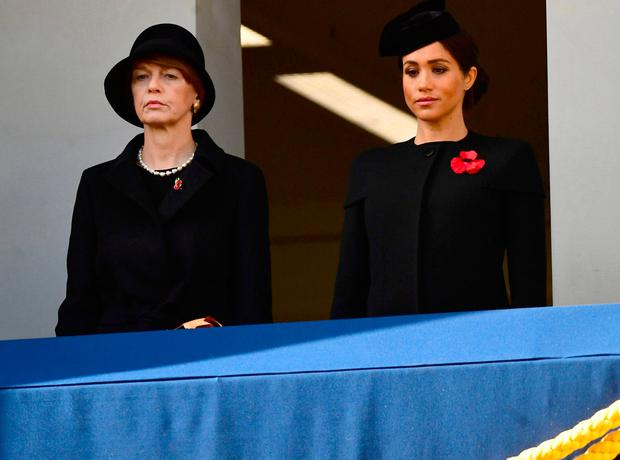 Britain's Meghan, Duchess of Sussex, watches a National Service of Remembrance, on Remembrance Sunday, at The Cenotaph in Westminster, London, Britain, November 11, 2018. Victoria Jones/Pool via REUTERS