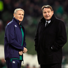 19 November 2016; Ireland head coach Joe Schmidt, left, in conversation with New Zealand head coach Steve Hansen ahead of the Autumn International match between Ireland and New Zealand at the Aviva Stadium in Dublin. Photo by Brendan Moran/Sportsfile