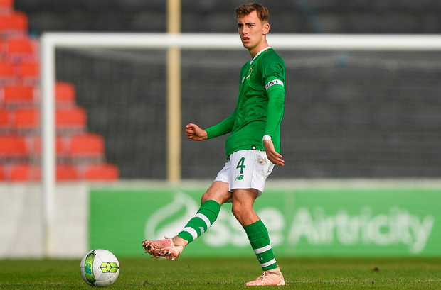 16 October 2018; Lee O'Connor of Republic of Ireland during the 2018/19 UEFA Under-19 European Championships Qualifying Round match between Republic of Ireland and Netherlands at City Calling Stadium, in Lissanurlan, Co. Longford. Photo by Harry Murphy/Sportsfile