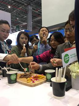 Crowds sample Irish beef at Bord Bia's stand at a major import fair in China.